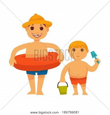 Boy wearing orange lifebuoy and brother holding green bucket and blue shovel isolated on white. Family spending summer vacation outdoors on fresh air closeup vector flat colorful illustration