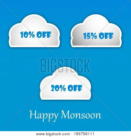 illustration of clouds with Happy Monsoon text