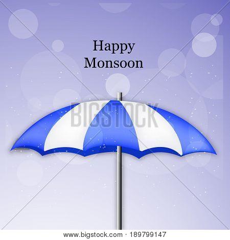 illustration of umbrella with Happy Monsoon text