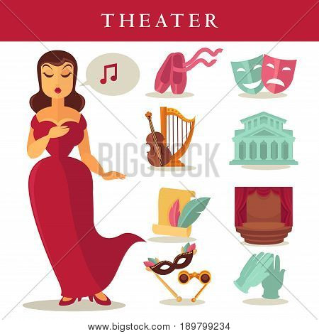Theater or opera icons set. Vector isolated flat singer woman in red dress with harp and violin or contrabass, stage curtain drapery and masks or ballet shoes and lorgnette glasses