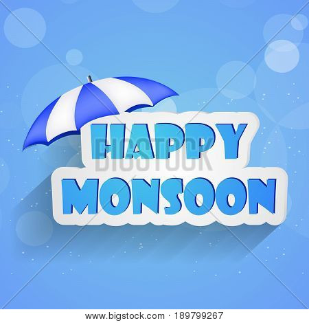 illustration of Happy Monsoon text in Umbrella on blue background