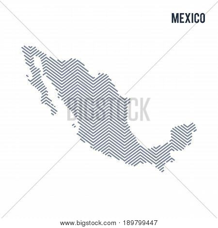 Vector Abstract Hatched Map Of Mexico Isolated On A White Background.
