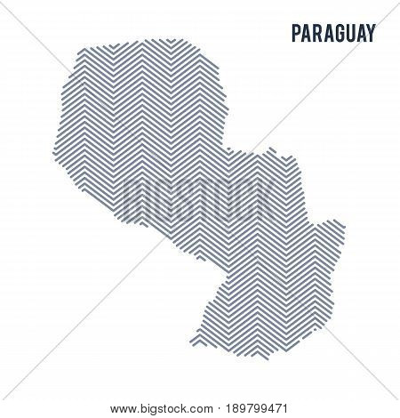 Vector Abstract Hatched Map Of Paraguay Isolated On A White Background.