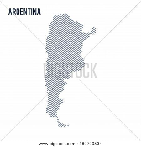 Vector Abstract Hatched Map Of Argentina Isolated On A White Background.