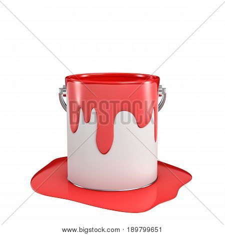 3d rendering of a paint bucket full of red paint with some of it overflown to the ground. Painting tools. DIY. Homebuilding and renovation.