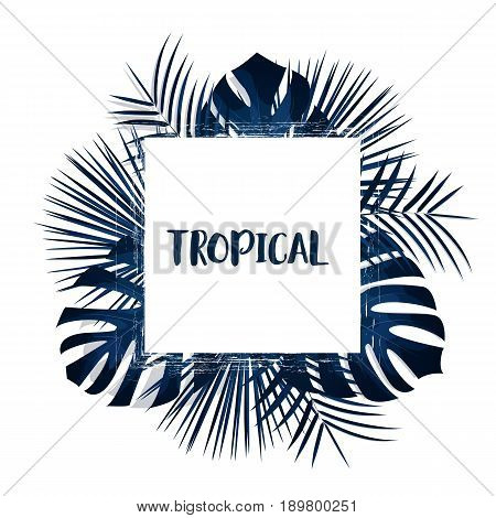 Tropical palm leaves background. Vector exotic card template with tropical leaves