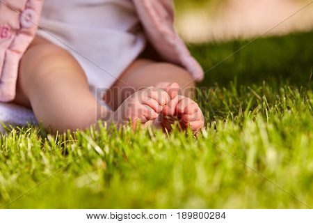 Small baby feet on the green grass at summer sunshiny day in the park. Cute baby in the white clothing. Horizontal croped photo. Concept of the happy babies.