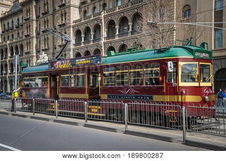 Melbourne, AUSTRALIA - August 22 2015: Melbourne Tram city circle the famous iconic transportation in the town.