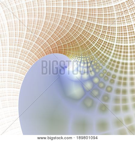 Mosaic Spiral Ornament. Abstract Intricate Asymmetrical Background In Yellow, Orange And Blue Colors