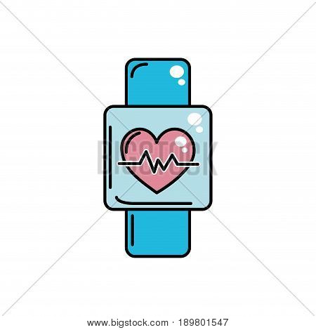 smartwatch to know the rhythm cardiac vector illustration