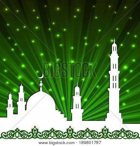 Background with a mosque and a minaret. Ramadan kareem greeting card. Vector illustration