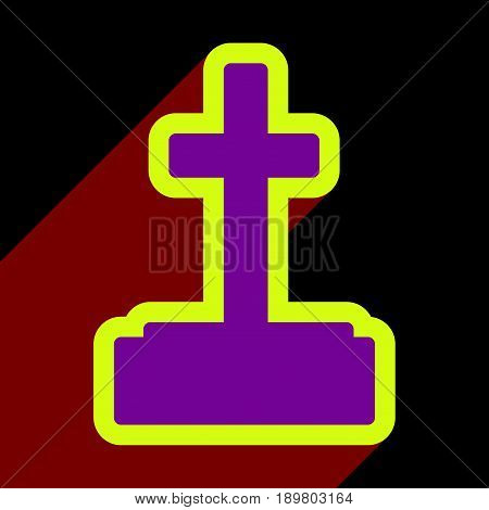 Flat with shadow icon and mobile application headstone