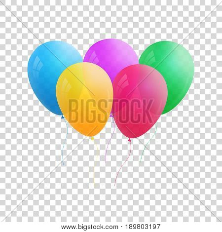 Balloons isolated. Vector realistic transparent balloons. Colorful set of helium balloons for holidays.