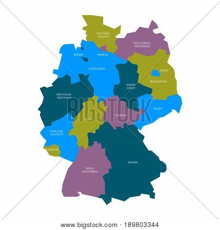 Map of Germany devided to 13 federal states and 3 city-states - Berlin, Bremen and Hamburg, Europe. Simple flat vector map in four colors with white labels.