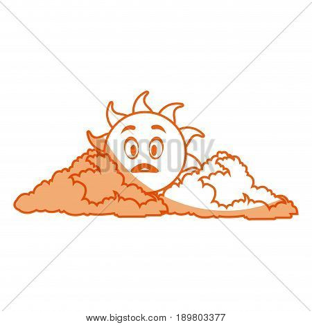 outlined sunny face smiling behind a cloud vector illustration