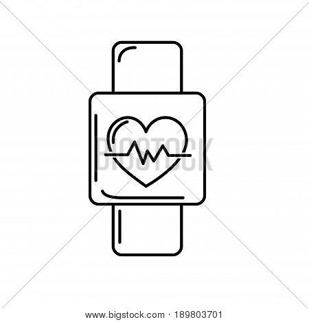 line smartwatch to know the rhythm cardiac vector illustration
