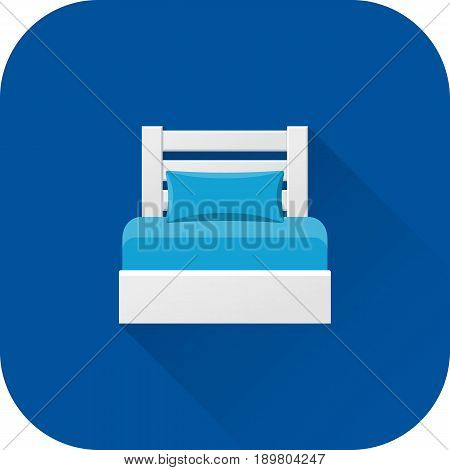 Bed icon. Flat design with long shadow. White bed isolated on blue background. Vector illustration.