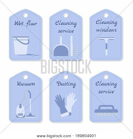 Vector set of tags for cleaning service.