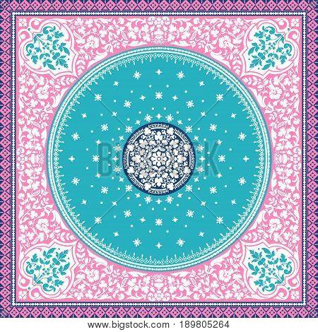 Victorian floral paisley medallion ornamental rug vector. Ethnic mandala towel frame. Vintage flower tile. Textile greeting business card coloring book phone case print