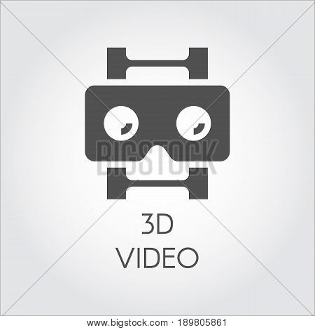 3D video design flat icon. Concept of high-definition, lcd, smart technology. Black simplicity vector pictogram for your projects. Web label