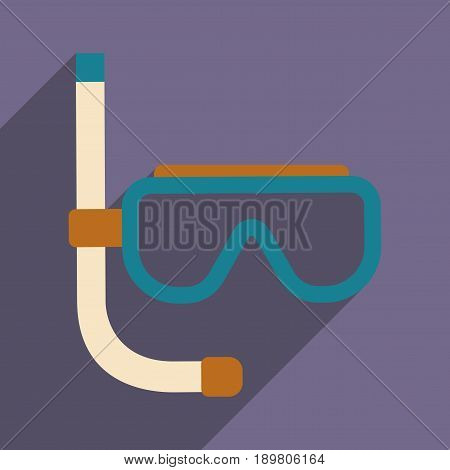 Flat with shadow icon and mobile application  diving Mask