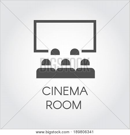 Black simple icon of audience in room cinema or video presentation concept. Design web pictogram. Label drawn in flat style on a gray background. Vector illustration logo for your projects