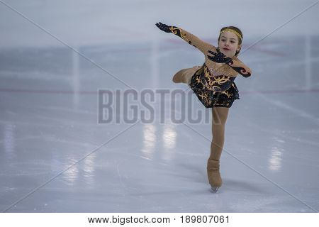 Minsk Belarus -April 23 2017: Unidentified Female Figure Skater performs Chicks Ladies Free Skating Program at Minsk Arena Cup 2017 International Figure Skating Competition in April 23 2017 in Minsk Belarus