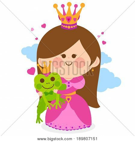 Beautiful princess holding a magical frog. Vector illustration