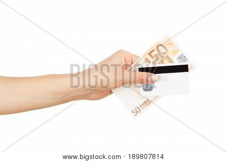 Fifty Euro And Credit Card In The Woman's Hand, Isolated