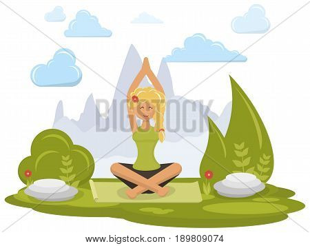 Young beautiful girl doing yoga in mountains. Woman relaxing in the nature in the lotus position. Vector illustration.