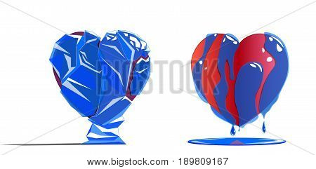 Two types of heart - one heart in ice, and the second heart thawed because of strong love or feelings.