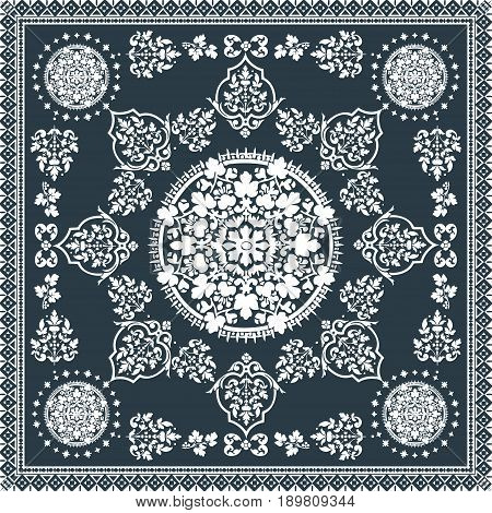 Victorian Floral Paisley Medallion Ornamental Rug Vector. Ethnic