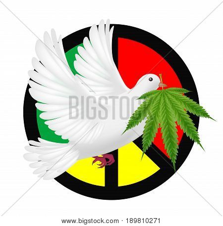 white pigeon flying with marijuanas and peace logo