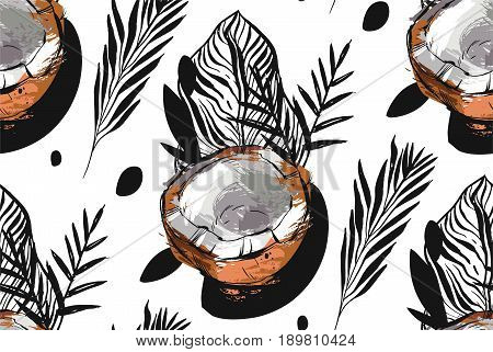 Hand drawn vector abstract unusual seamless pattern with exotic tropical fruit coconut ant palm leaves isolated on white background