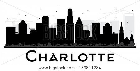 Charlotte City skyline black and white silhouette. Simple flat concept for tourism presentation, banner, placard or web site. Cityscape with landmarks.