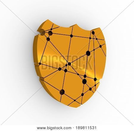 Shield low poly style. Abstract polygonal shield. Antivirus concept. Molecule And Communication design. Connected lines with dots. 3D rendering