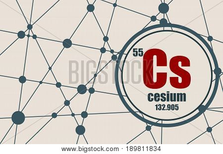 Cesium chemical element. Sign with atomic number and atomic weight. Chemical element of periodic table. Molecule And Communication Background. Connected lines with dots.