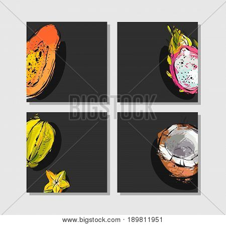 Hand drawn vector abstract freehand textured unusual cards set collection template with exotic tropical fruits papaya, dragon fruit, coconut and carambola isolated on black background