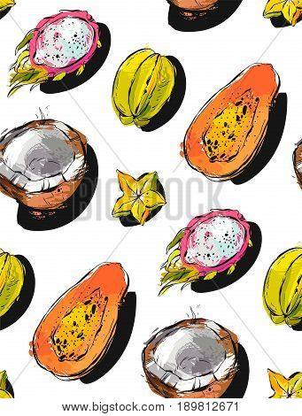 Hand drawn vector abstract freehand textured unusual seamless pattern with exotic tropical fruits papaya, dragon fruit, coconut and carambola isolated on white background
