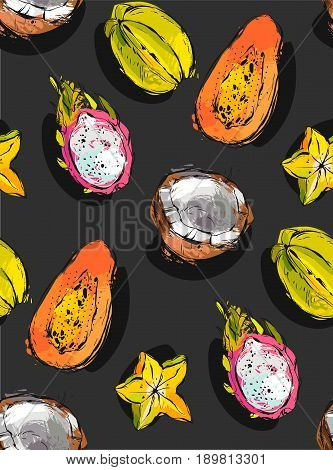 Hand drawn vector abstract freehand textured unusual seamless pattern with exotic tropical fruits papaya, dragon fruit, coconut and carambola isolated on black background
