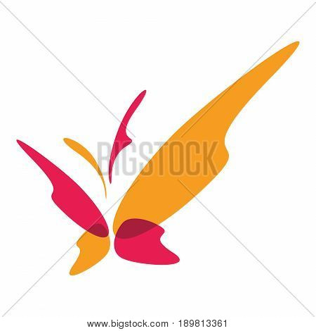An abstract illustration of a butterfly in yellow and magenta