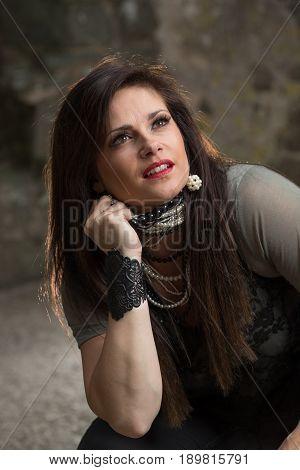 Dark And Moody Portrait Of Alternative Woman