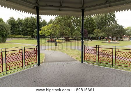 A view from inside the bandstand in Alton town park in Hampshire.