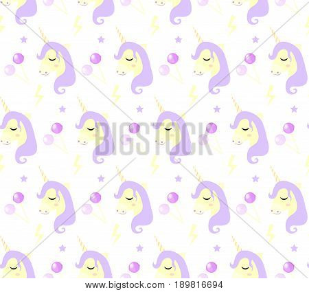 Magic Unicorn seamless pattern. Modern fairytale endless textures, magical repeating backgrounds. Cute baby backdrops. Vector illustration