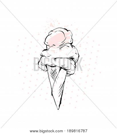 Hand drawn vector graphic brush drawing Ice cream cone in pastel colors with polka dot and freehand textures isolated on white background.Menu, kids party, sweet shop, ice cream sundae