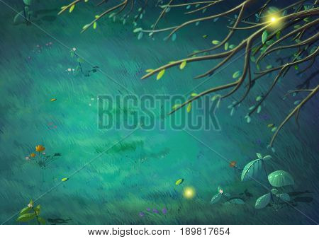Top View of Beautiful Night in the Clearing Forest. Video Game's Digital CG Artwork, Concept Illustration, Realistic Cartoon Style Background