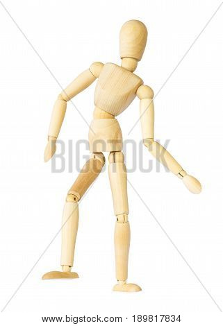 Wooden puppet is dancing . Isolated background .