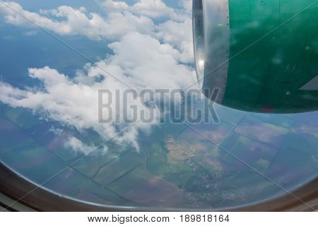 Awesome skyscape viewed from board of airplane