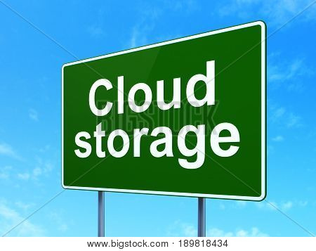 Protection concept: Cloud Storage on green road highway sign, clear blue sky background, 3D rendering