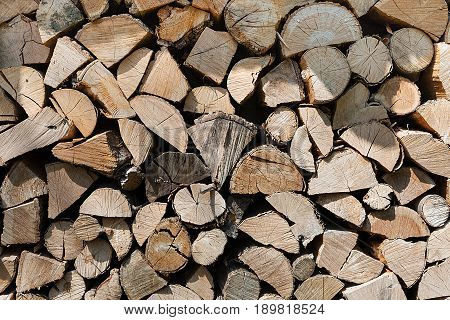 Pile of wood logs ready for winter - landscape exterior